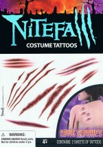 Nightfall costume tattoos: long slashes