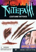 Nightfall costume tattoos:  ripped & torn