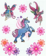 Unicorn and Fairy tattoo sheet