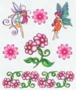 Fairy and Flowers tattoo sheet
