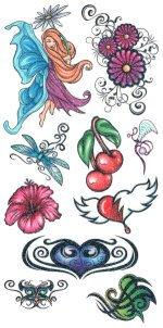 Glitter Tattoos 2 - HUGE tattoo sheet