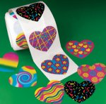 Funky heart stickers: 50 stickers