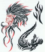 Indian and Dragon Tribal tattoo sheet