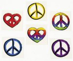 Peace Sign Tattoos: 12 Pack