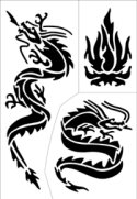 Dragon tattoo stencil sheet