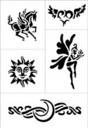 Fantasy mystical tattoo stencil sheet