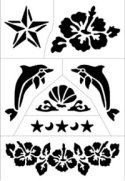 Tropical summer themed tattoo stencil sheet