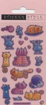 Craft Stickers: Cute Cats Glitter Stickers 20 stickers