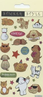 Cats and Dogs Glitter Stickers