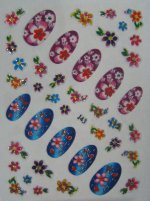Glitter Nail Art Stickers:  Flowers