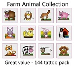 A Farm Animal Tattoos Collection - mega pack of 144