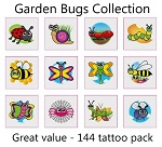 A Garden Bugs Tattoos Collection - mega pack of 144