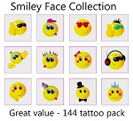 A Smiley Face Tattoos Collection - mega pack of 144