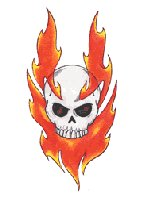 Flaming Skull temporary tattoo