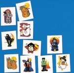 Glitter Halloween fake tattoo assortment: 24 pack