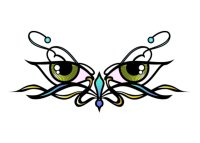 Glitter eyes tribal design temporary tattoo