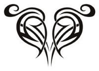 Tribal design heart tattoo