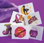 Girls glitter witch fun tattoos: 12 pack