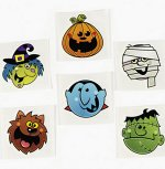 Halloween Characters Tattoos - 12 Pack