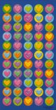 Colourful Heart Stickers: 1 sheet of 50 stickers