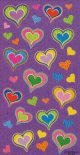 Colourful Heart Stickers - 1 sheet of 33 Stickers