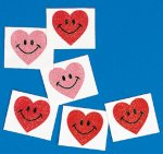 Smiley heart glitter tattoos - 12/36/72 packs