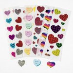Glitter Heart Stickers: Bargain Pack of 6 sheets