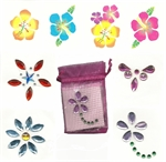 Gift Bag of 4 Body Jewels and 4 Tattoos - Pink Bag