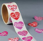 Hugs and Kisses Heart Stickers - 50 stickers