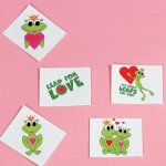Valentine frog tattoos - 12 pack