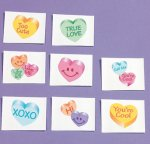 Glitter love hearts tattoos - 12 pack