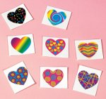 Funky heart temporary tattoos 8/36/72 Packs
