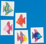 Glitter tropical fish tattoos - 12 pack