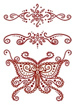 Henna Butterfly tattoo sheet