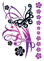 Black Butterfly and Flower tattoo sheet
