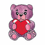 Purple teddy holding heart temporary tattoo