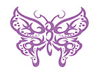 Purple Glitter Butterfly temporary tattoo
