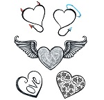 Various Modern Love Hearts tattoo sheet