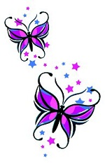 Large Butterfly Star tattoo sheet