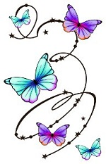 Large Butterfly Swirls tattoo sheet