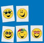 Smiley Face tattoo selection: 12 pack
