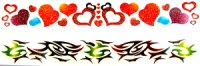 Glitter bracelet/anklet tattoos - 2 pack (heart)