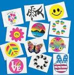 Glow-in-the-dark temporary tattoo selection - 12 pack