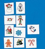 Glitter Christmas temporary tattoos - 8 pack