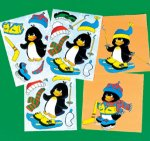 Christmas Dress a Penguin sticker: 12 Pack