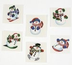 Glitter Snowmen Tattoos: 12 pack