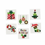 Fun Glitter Christmas Tattoos:  pack of 12