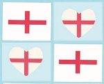 England St Georges Flag Mini tattoo - 4 pack