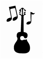 Guitar and Music stencil