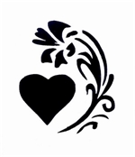 Heart and Flower Stencil